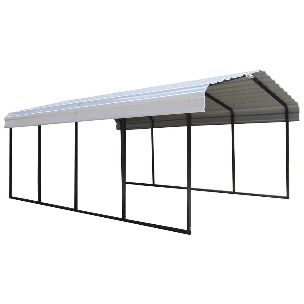 Arrow 12 ft. x 20 ft. x 7 ft. White Roof Steel Carport-CPH122007 ...
