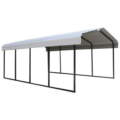 12 ft. x 20 ft. x 7 ft. White Roof Steel Carport