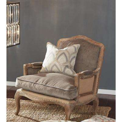 Hollis Tan and Gray 18 in. x 18 in. Square Embroidery Patten Decorative Pillow