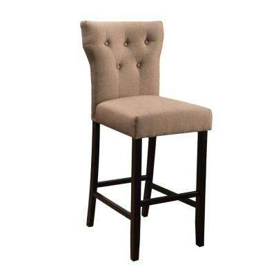 Pablo 26.5 in. Mocha Fabric Tufted Counter Stool (Set of 2)