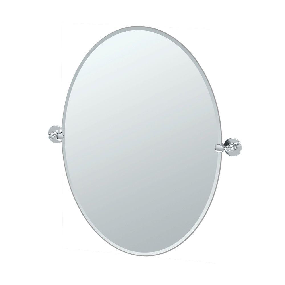 Gatco Terrace 32 in. L x 29 in. W Large Oval Mirror in Chrome