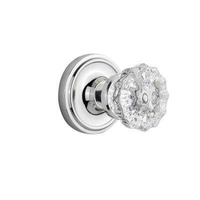 Classic Rosette 2-3/8 in. Backset Bright Chrome Passage Hall/Closet Crystal Glass Door Knob