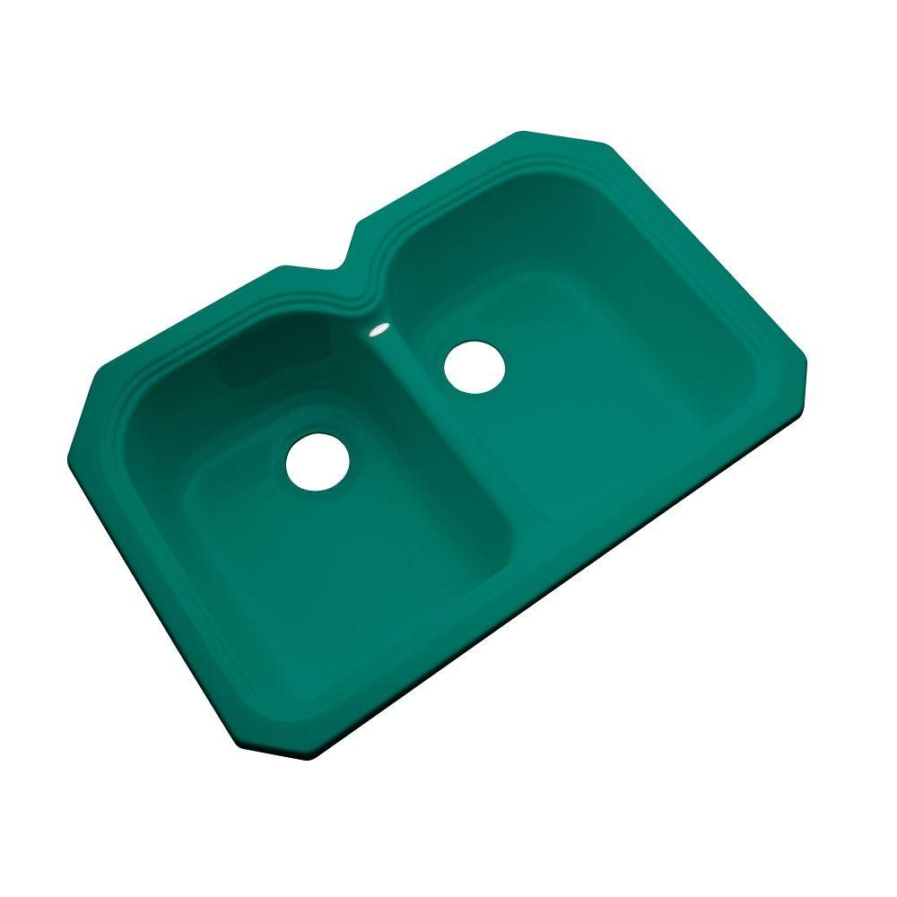 Thermocast Hartford Undermount Acrylic 33 in. Double Basin Kitchen Sink in Verde