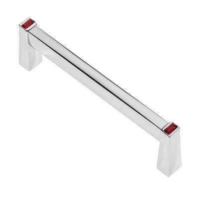 Long Island 3-3/4 in. Chrome with Red Crystal Cabinet Pull