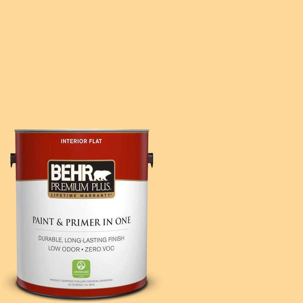 BEHR Premium Plus 1-gal. #P250-3 Marsh Marigold Flat Interior Paint, Yellows/Golds