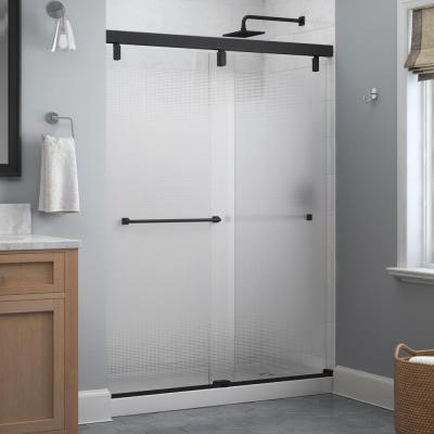 Everly 60 in. x 71-1/2 in. Frameless Mod Soft-Close Sliding Shower Door in Matte Black with 1/4 in. (6 mm) Droplet Glass