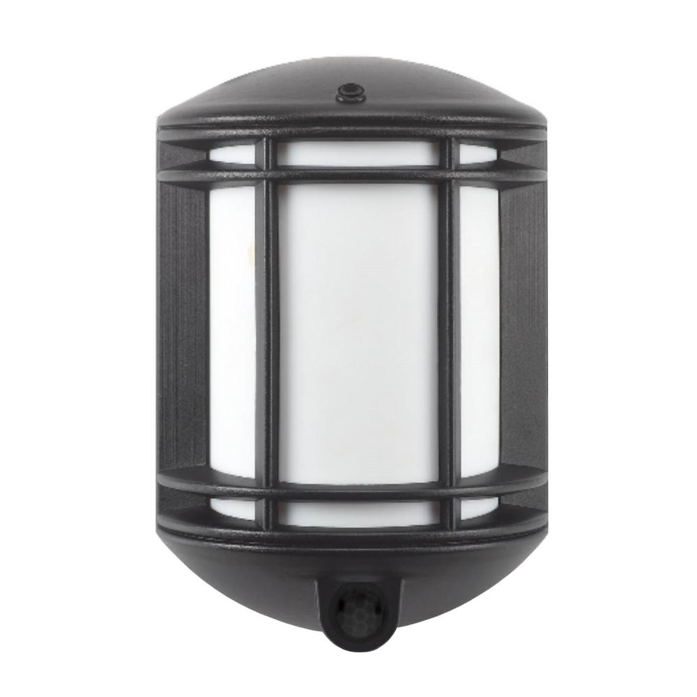 It S Exciting Lighting Cambridge Black Outdoor Motion Sensing Integrated Led Wall Mount Sconce
