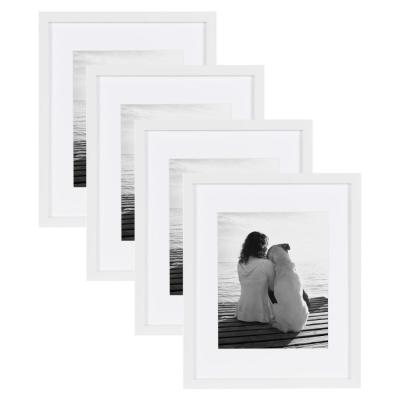 Gallery 11 in. x 14 in. Matted to 8 in. x 10 in. White Picture Frame (Set of 4)