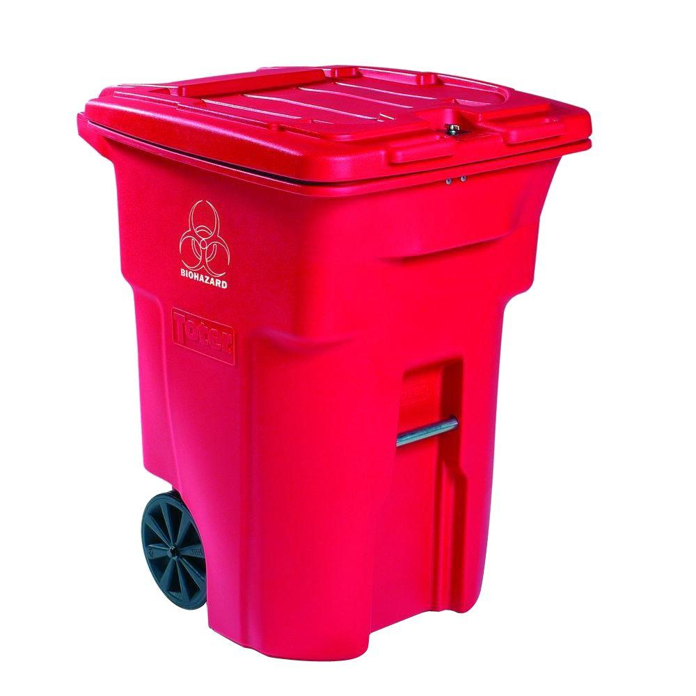 64 Gal. Red Wheeled Regulated Medical Waste Trash Can