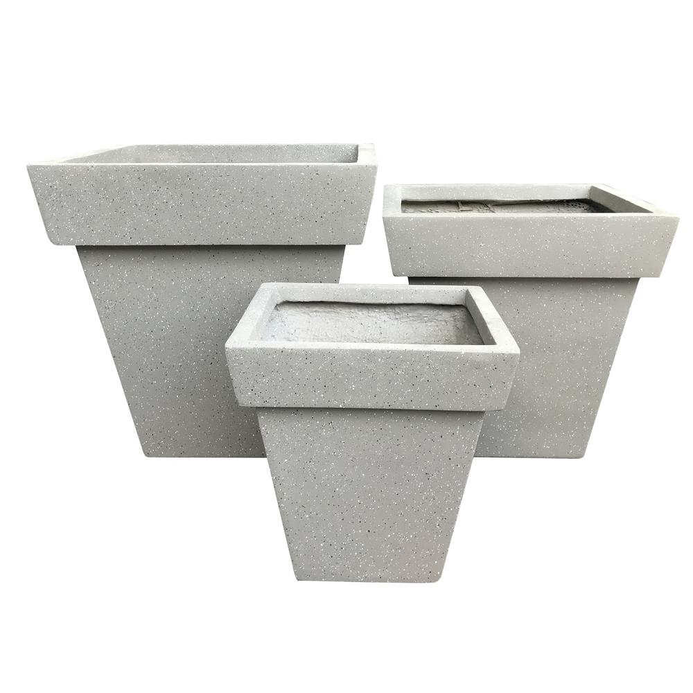 Lightweight Concrete Flared Square Terrazzo Grey Planter (Set of 3)