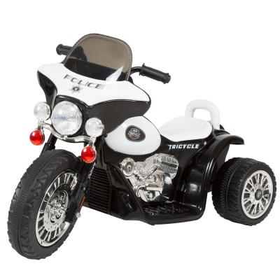 3-Wheel Battery Powered Ride on Toy Motorcycle Police Chopper in Black