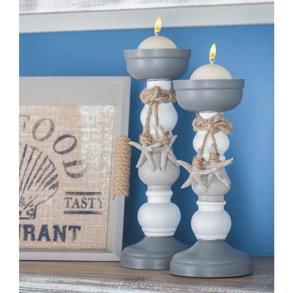 Litton Lane Coastal Living Wood and Rope Candle Holders (Set of 2 ...