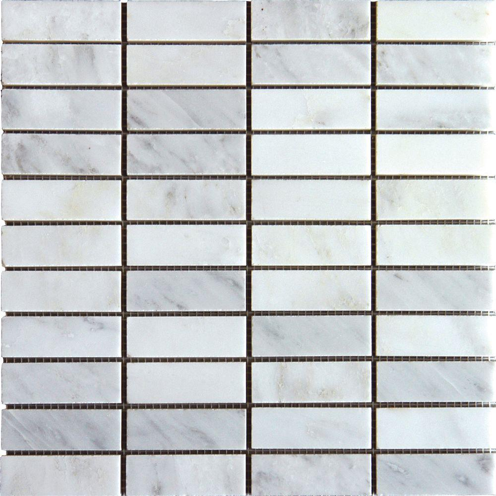 MSI Greecian White Brick 12 in. x 12 in. x 10 mm Honed Marble Mesh-Mounted Mosaic Tile (10 sq. ft. / case)