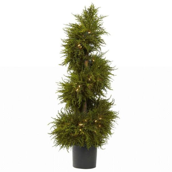 43 in. Cedar Spiral Topiary with Lights