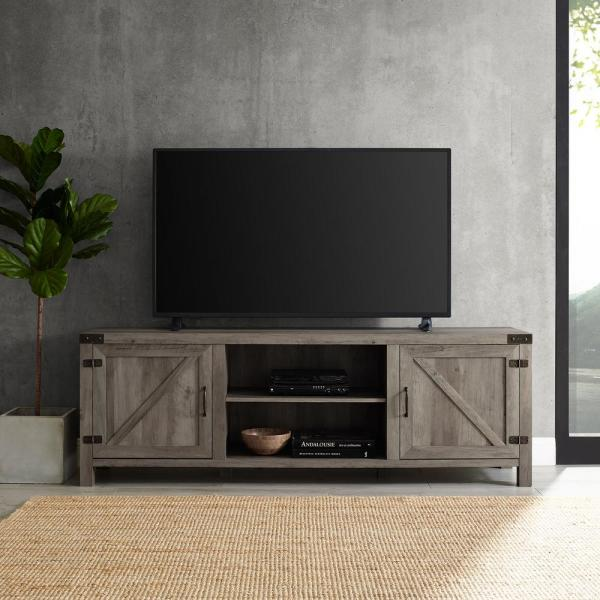 70 in. Gray Wash Composite TV Stand 75 in. with Doors