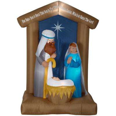 650 ft pre lit inflatable nativity with archway airblown scene - Christian Outdoor Christmas Decorations