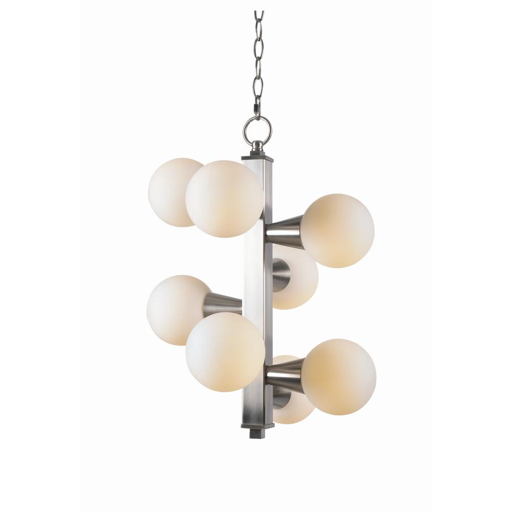 Kenroy Home Vaughn 8-Light Brushed Steel Chandelier with White Glass Shades
