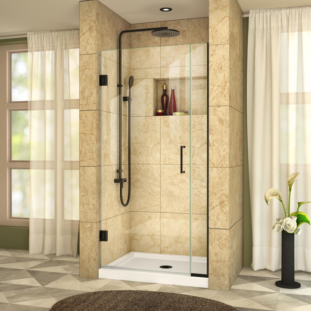 DreamLine Unidoor Plus 32.5 in. x 72 in. Frameless Hinged Shower Door in Satin Black