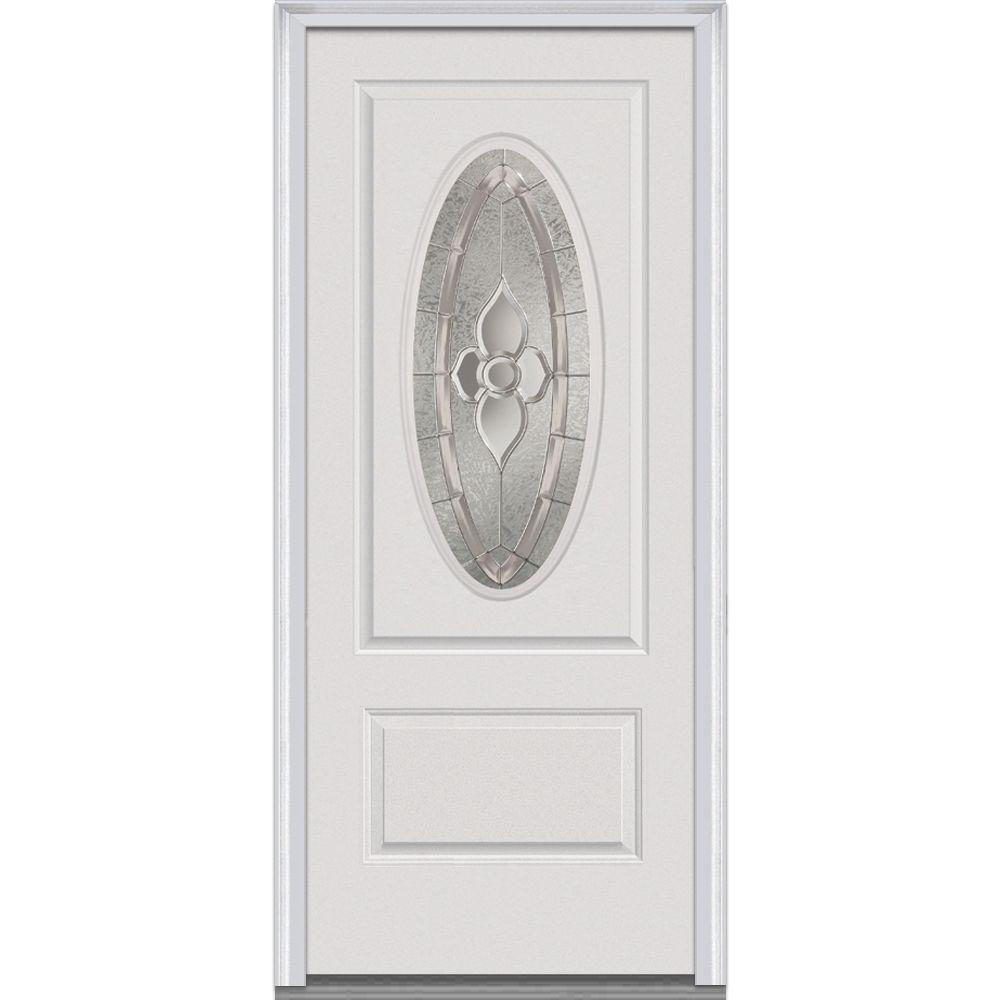 Milliken Millwork 36 in. x 80 in. Master Nouveau Decorative Glass 3/4 Oval Lite 1-Panel Primed White Fiberglass Smooth Prehung Front Door