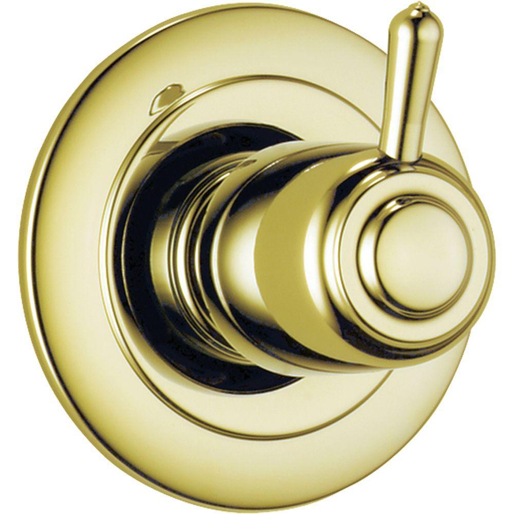1-Handle 6-Setting Diverter Valve Trim Kit in Polished Brass (Valve Not Included)