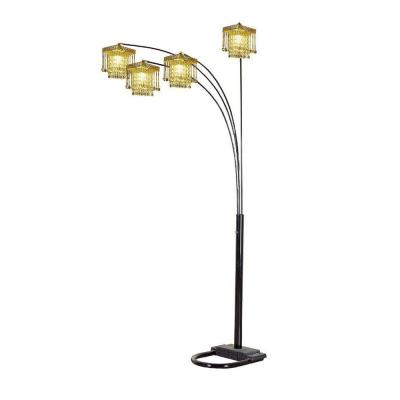 84 in. 5 Arms Arch Black Floor Lamp