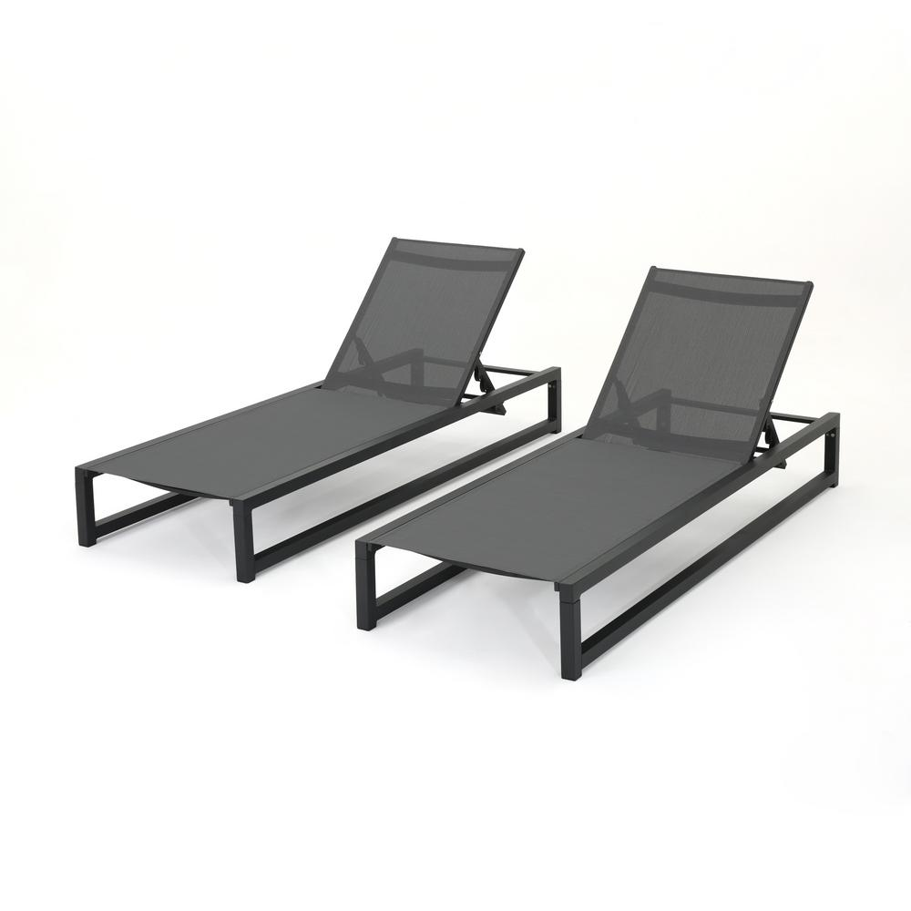 Noble House Brayan Black 2-Piece Metal Outdoor Chaise Lounge