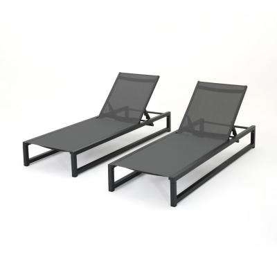 Brayan Black 2-Piece Metal Outdoor Chaise Lounge