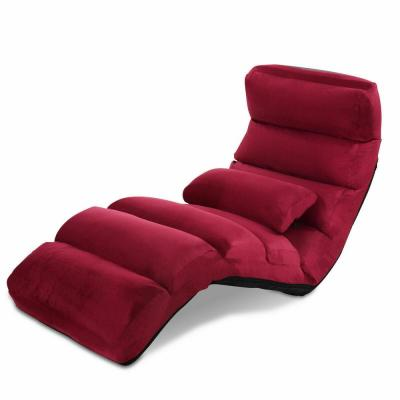 Burgundy Folding Lazy Sofa Chair Stylish Sofa Couch Bed Lounge Chair with Pillow