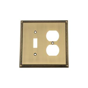 Nostalgic Warehouse Rope Switch Plate with Toggle and Outlet in Antique Brass by Nostalgic Warehouse