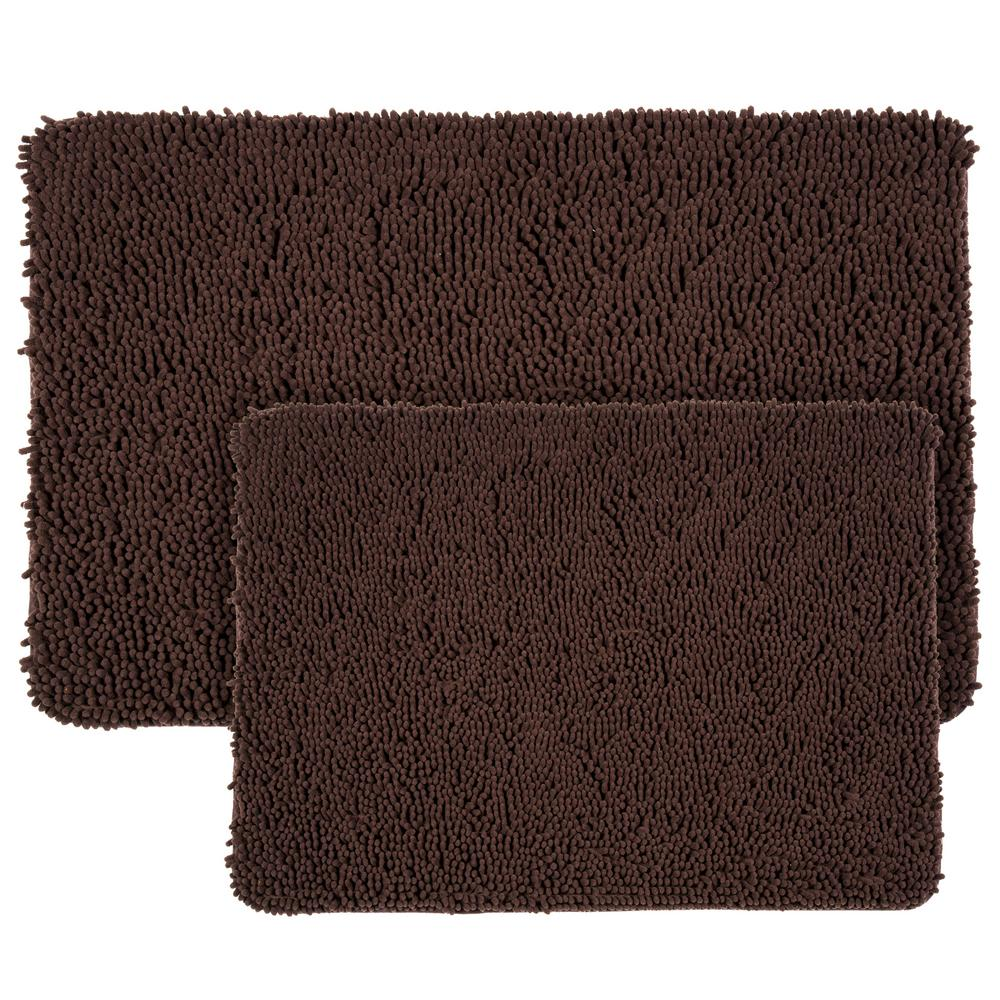 Memory foam bath mat set 2 piece shag brown chocolate bathroom mats plush rugs 886511776524 ebay for Chocolate brown bathroom rugs