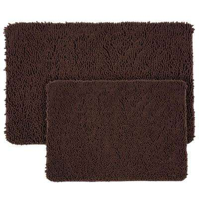 Shag Chocolate 21 in. x 32 in. Memory Foam 2-Piece Bath Mat Set