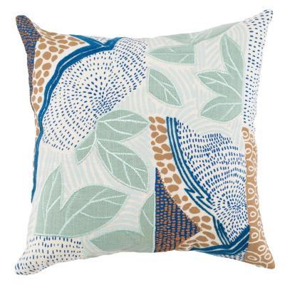 Heather Blue Surf/ Marine 20 in. x 20 in. Linen Print and Embroidery Decorative Pillow