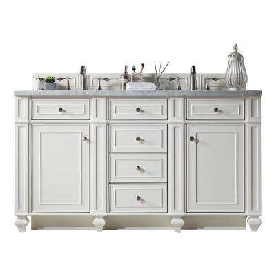 Bristol 60 in. W Double Vanity in Cottage White with Soild Surface Vanity Top in Arctic Fall with White Basin