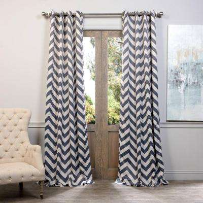 Semi-Opaque Fez Grey and Tan Grommet Blackout Curtain - 50 in. W x 96 in. L (Panel)