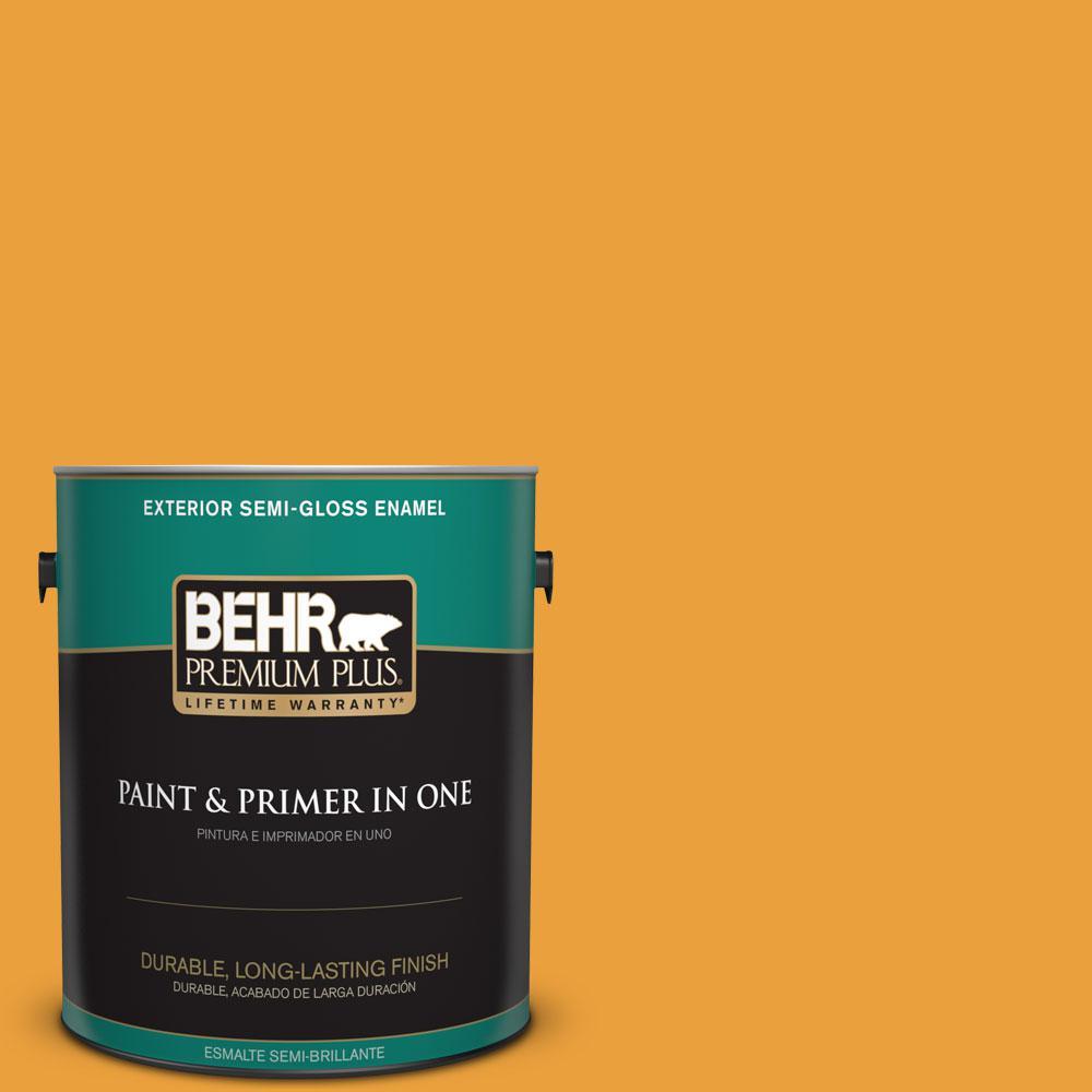 1 gal. #HDC-FL14-5 Gilded Leaves Semi-Gloss Enamel Exterior Paint