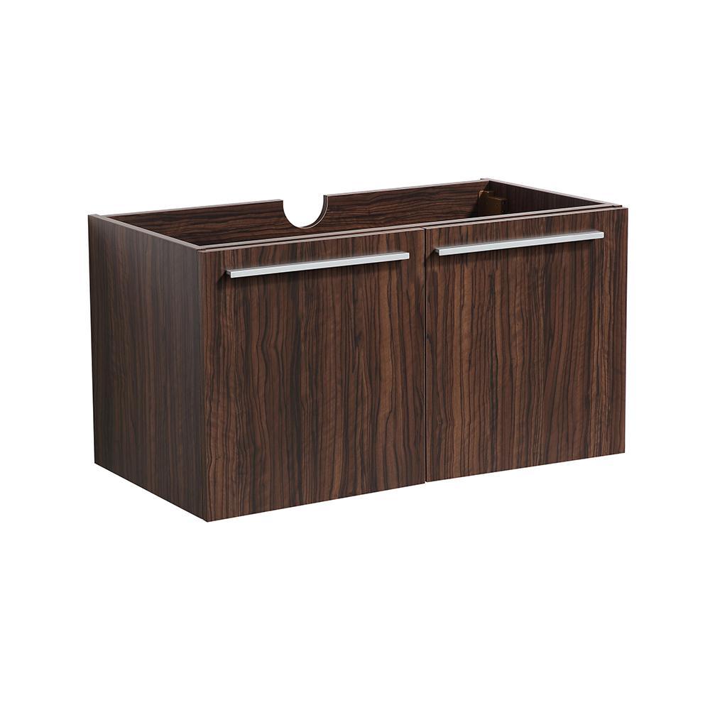 Vista 30 in. Modern Wall Hung Bath Vanity Cabinet Only in Walnut