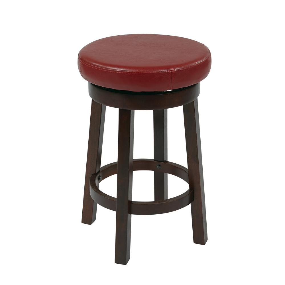 Osp Designs Metro 24 In Red Faux Leather Round Barstool