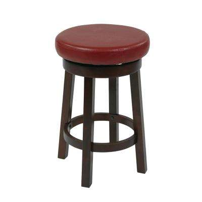 Metro 24 in. Red Faux Leather Round Barstool