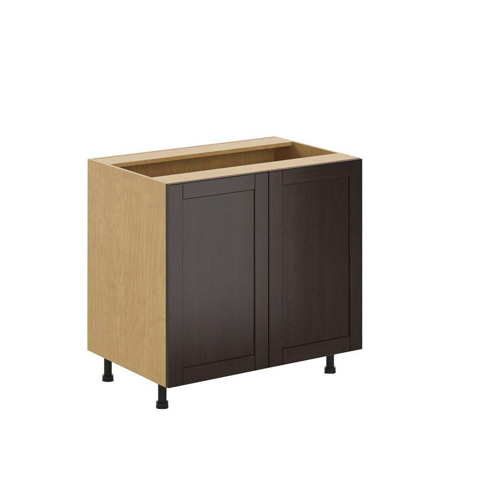 Fabritec Ready to Assemble 36x34.5x24.5 in. Barcelona Full Height Base Cabinet in Maple Melamine and Door in Dark Brown