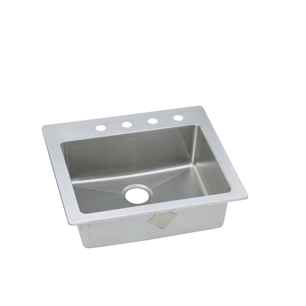 Elkay Signature Plus Drop-In/Undermount Stainless Steel 25 in. 4-Hole Single Bowl Kitchen Sink