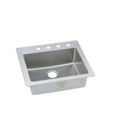 Signature Plus Drop-In/Undermount Stainless Steel 25 in. 4-Hole Single Bowl Kitchen Sink
