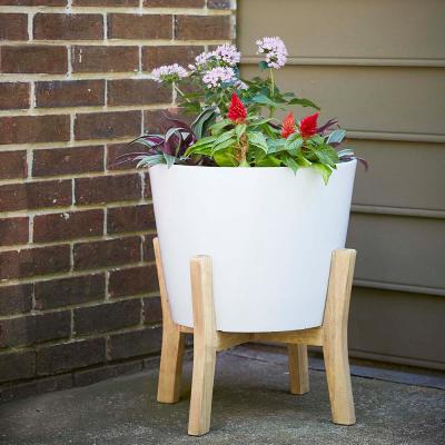 Contemporary 16 in. x 19.87 in. Resin Composite Planter with Wood Stand