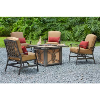 Ridge Falls Dark Brown Aluminum Outdoor Patio Motion Lounge Chair with Sunbrella Canvas Cork Tan Cushions (2-Pack)