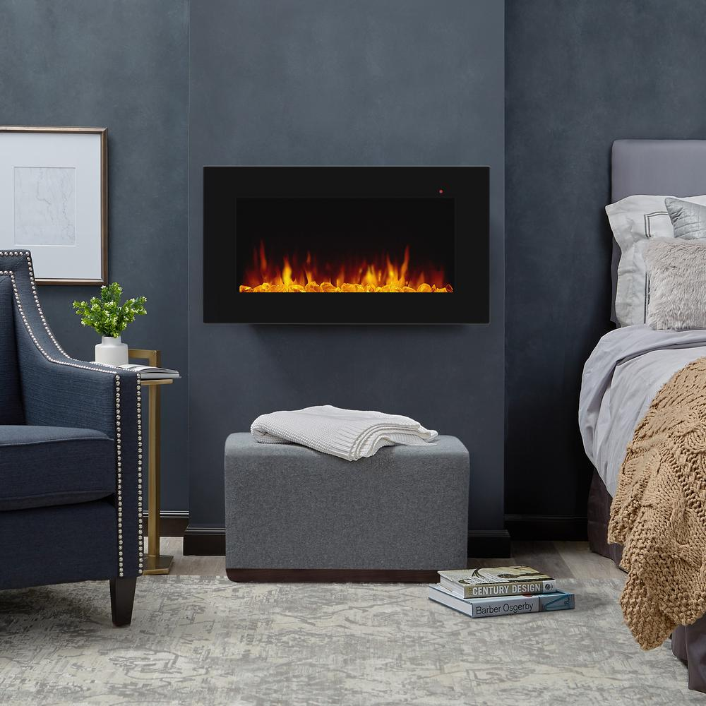 Real Flame Corretto 40 In Wall Mount Electric Fireplace In Black