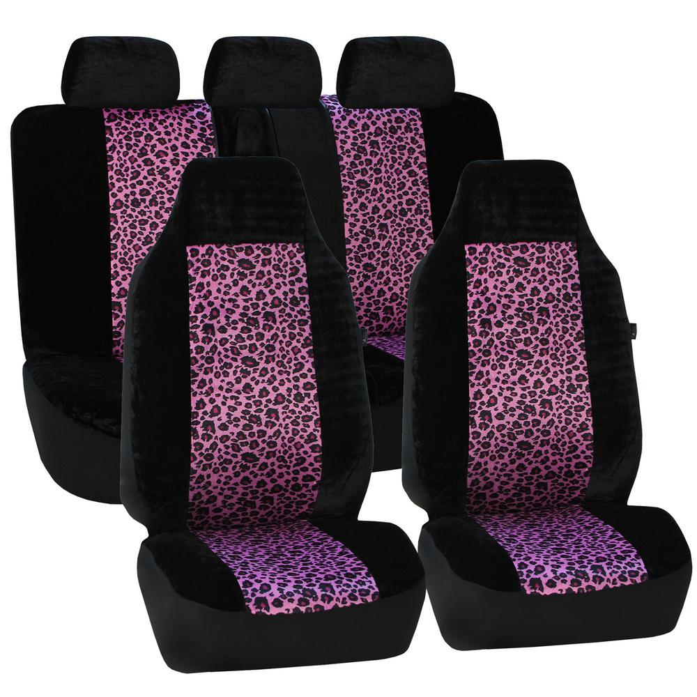 Fabric 21 in. x 20 in. x 2 in. Leopard Full Set Seat Cove...