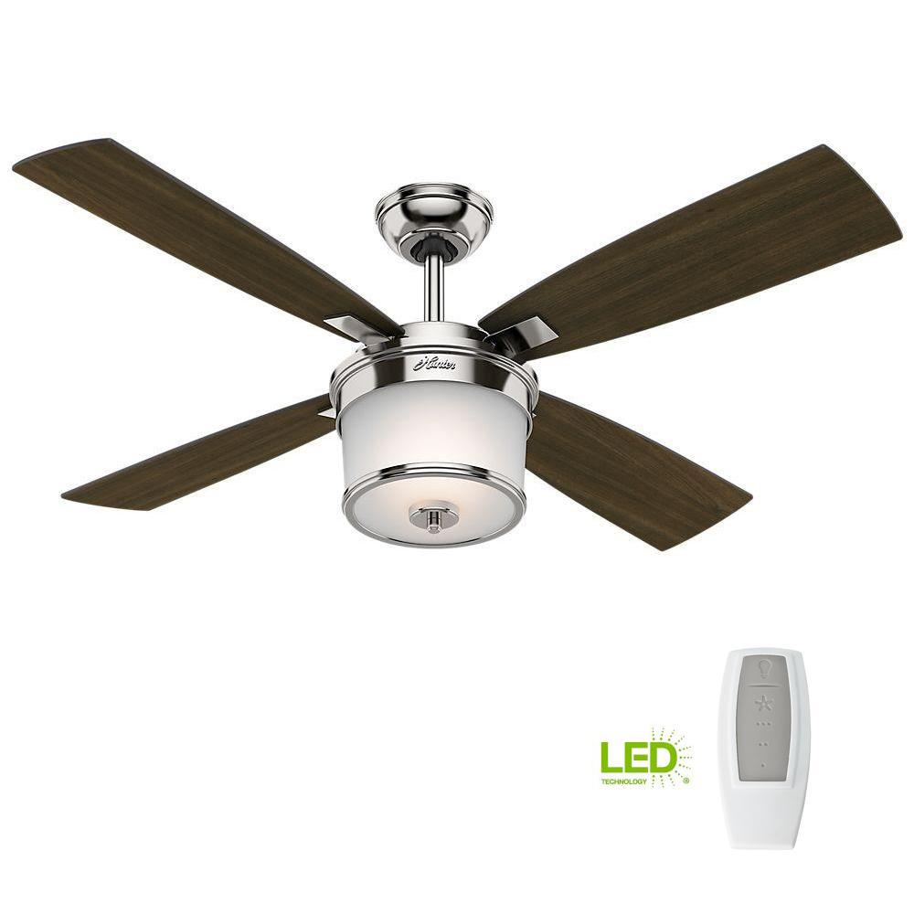Heat And Glow Escape Fan Kit: Hunter Kimball 52 In. LED Indoor Polished Nickel Ceiling