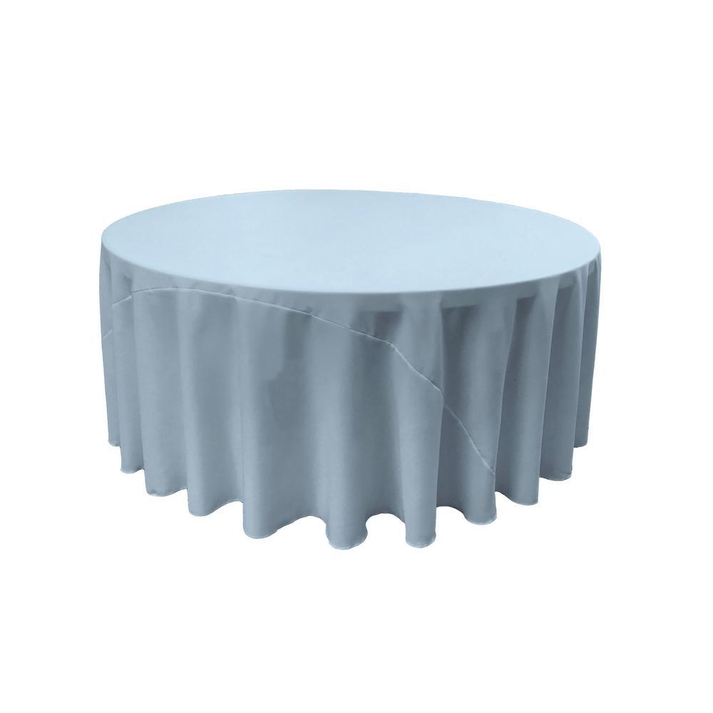 Merveilleux LA Linen 132 In. Round Light Blue Polyester Poplin Tablecloth