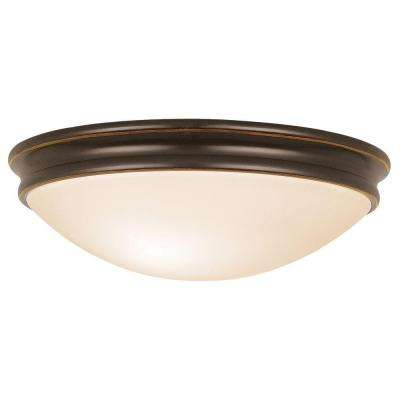 Atom 2-Light Oil Rubbed Bronze Flushmount with Opal Glass Shade