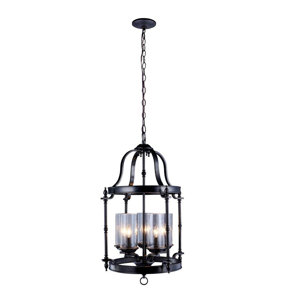 World Imports Tresor Collection 5-Light Antiqued Pewter Pendant with Elegant Clear Seeded Glass Shades