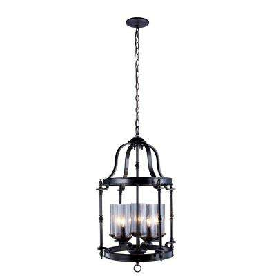 Tresor Collection 5-Light Antiqued Pewter Pendant with Elegant Clear Seeded Glass Shades